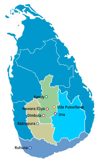 ceylon tea regions map